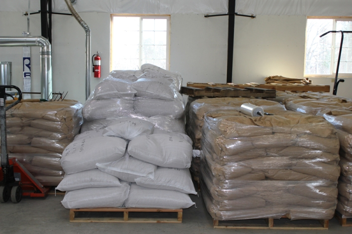 White bags are malt. Brown bags are malting barley.