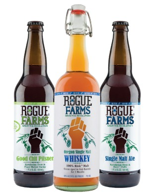 Rogue Farms Good Chit Pilsner, Oregon Single Malt Whiskey and Single Malt Ale.