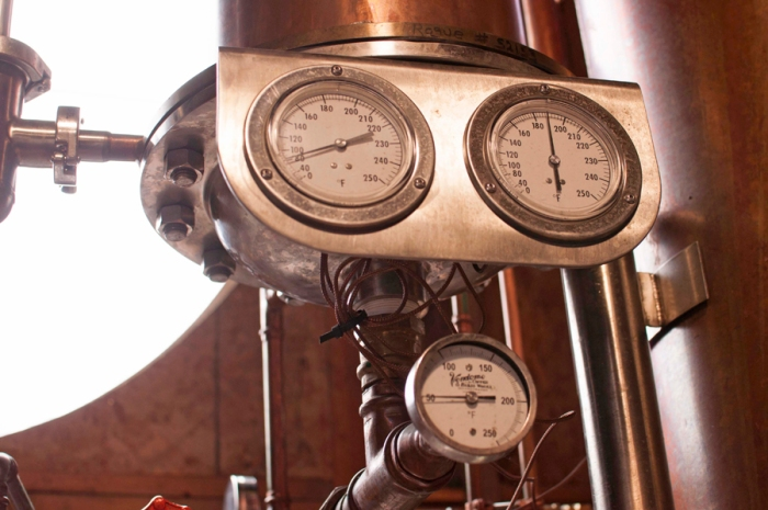 Gauges allow us to fine tune the distillation.
