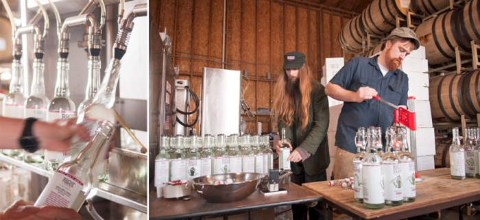 The finished Oregon Single Malt Vodka is bottled, sealed and labeled by hand.