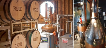 Right: Ocean aging at the Rogue Distillery in Newport. Left: Rogue's first distillery in Portland's Pearl District opened in 2008.