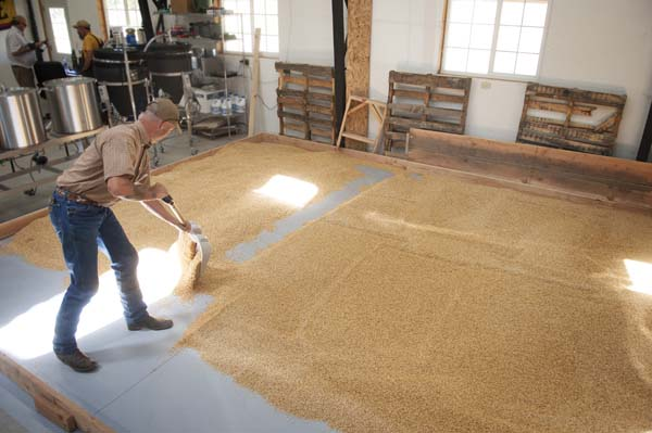 The floor of the Farmstead Malt House at Rogue Farms in Tygh Valley, Oregon.