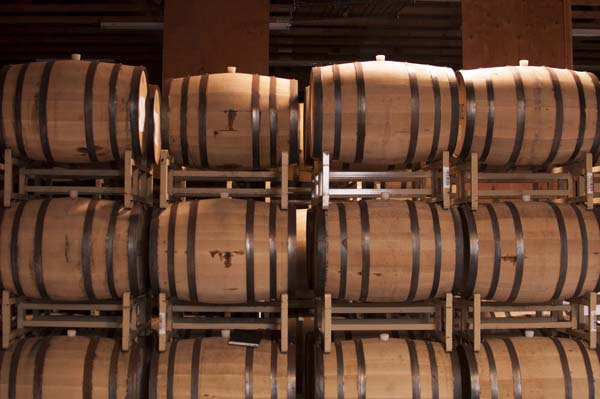 Our barrel room in the Rogue Distillery.