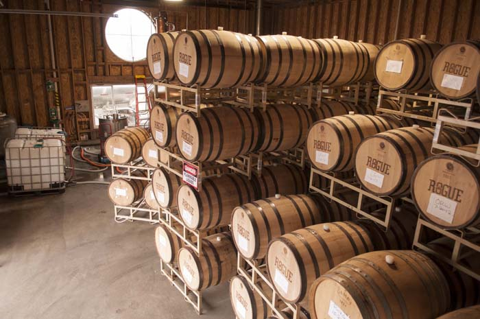 Inside the barrel aging room at Rogue Spirits  on Yaquina Bay in Newport, Oregon.