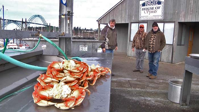 We have a crab cleaning station right outside the Rogue House of Spirits.  It doesn't get any fresher than this.