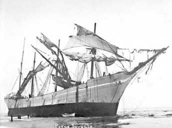 The wreck of the Peter Iredale in 1906. Salem Public Library photo.