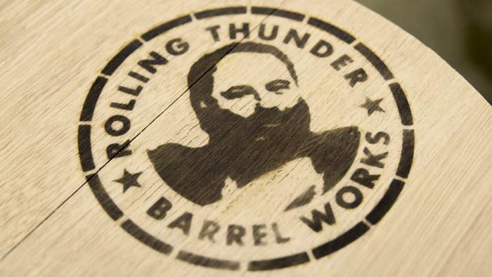 Rolling Thunder Logo in wood