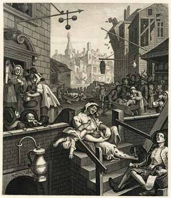 Gin Lane, a popular anti-drunkenness poster of 1700s Britain.