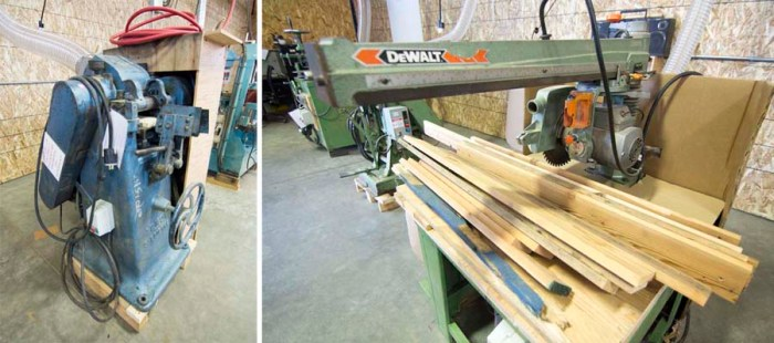 Left: A planer. Right: A radial arm saw.