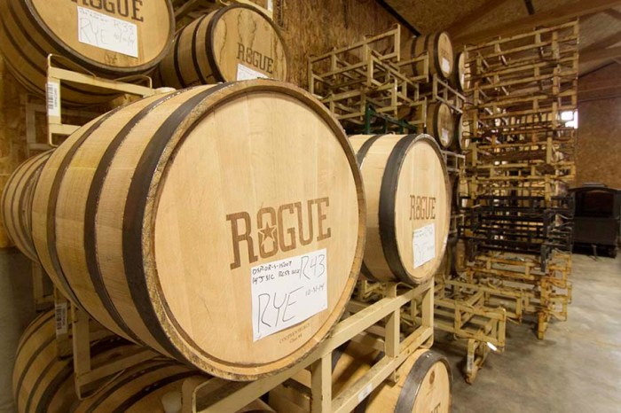 The Ocean Aging room at the Rogue Distillery.