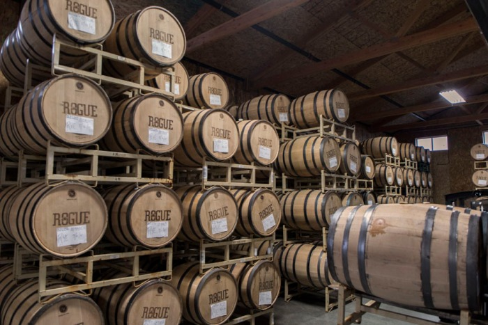 Inside the barrel aging room at Rogue Spirits.
