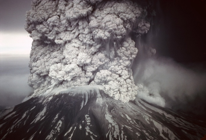 Mt. St. Helens erupting in 1980. US Forest Service photo.
